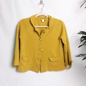 J. Crew Mustard Yellow Knit Cardigan - L